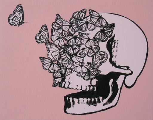 Skull pink butterflies