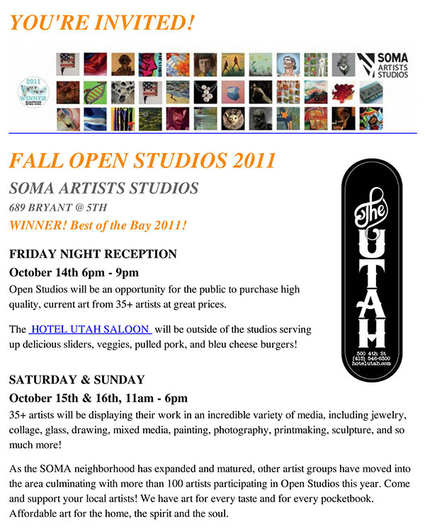 FALL OPEN STUDIOS at SOMA Aritst Studios