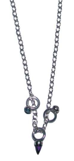 Sterling silver necklace with 3 rings. Semi-precious stones include blue topaz, amethyst, and moonstone. Chain length is 18""