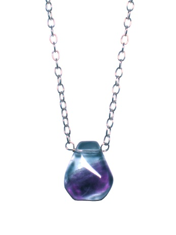 Sterling silver with fluorite drop. Chain length is 16""