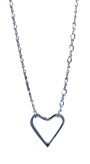 Sterling silver heart necklace. Chain length is 16""