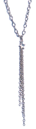 """Sterling silver heart and chain tassel. Necklace is 16""""."""
