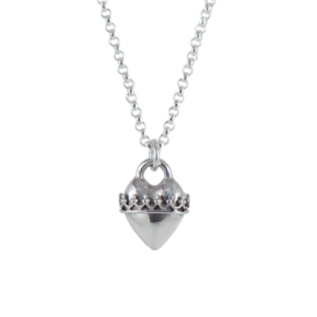Sterling Silver Heart with Crown Wrap Necklace