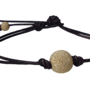 Leather and Glitter Ball GoldBracelet