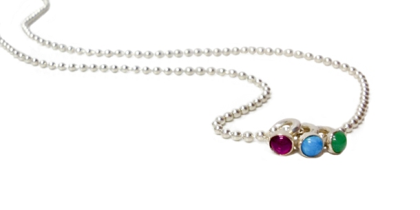 jewelry necklace 3 rings ball chain