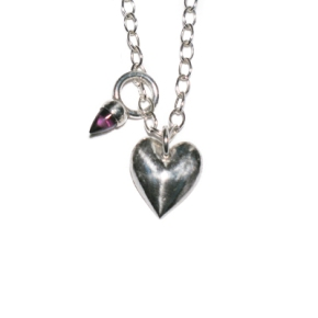 Fine Silver Heart with Bullet Necklace