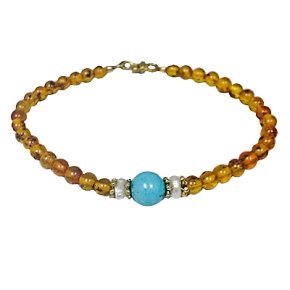 Amber, Pearl and Turquoise BeadBracelet