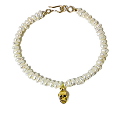 jewelry bracelet pearl skull gold fill pewter