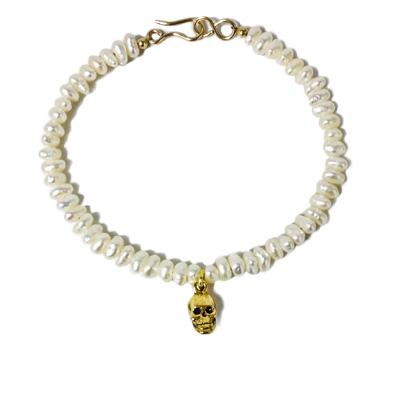 jewelry bracelet pearl skull gold fill pewter