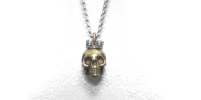 Bronze Skull Pendant with Sterling Silver Crown