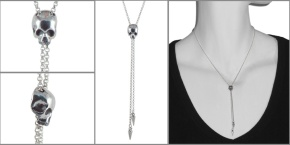 Sterling Silver Skull Bolo Style Necklace