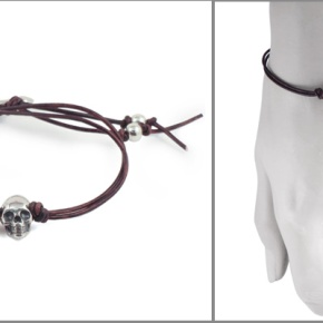 Sterling Silver Double Skull and Bone Bracelet