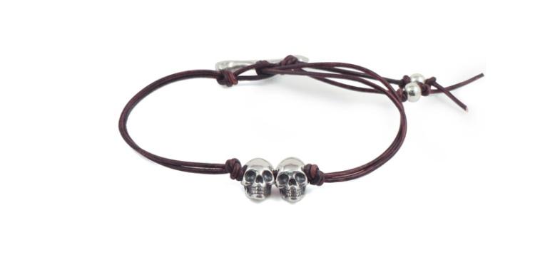 bracelet skulls two leather cord