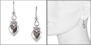 Earrings Heart with Crown in SterlingSilver