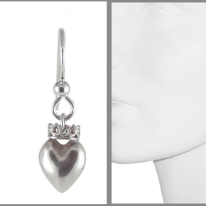 Earrings Heart with Crown in Sterling Silver