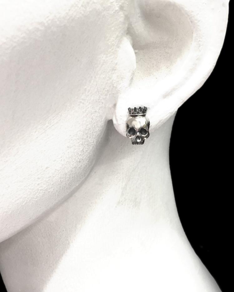 skull crown post earrings